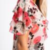 Ruffled silk print -chiffon gown Blouse