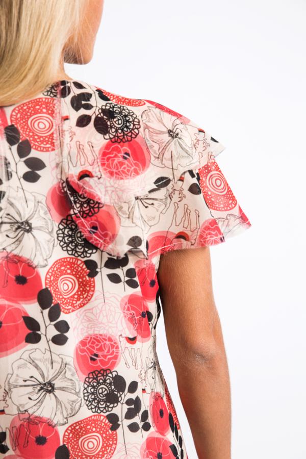 Ruffled silk print -chiffon gown mini dress