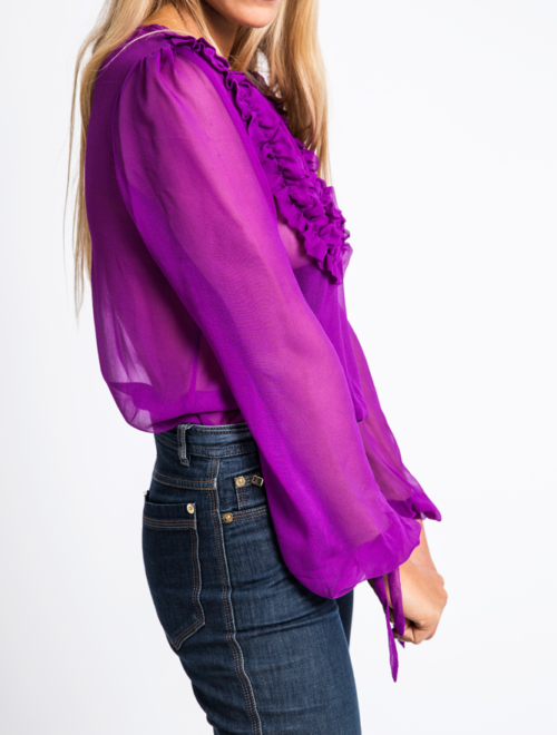 Sheer flounced neckline silk- chiffon blouse