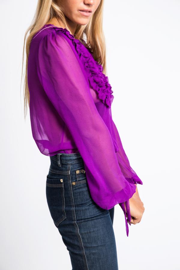Sheer flounced neckline silk- chiffon blouse