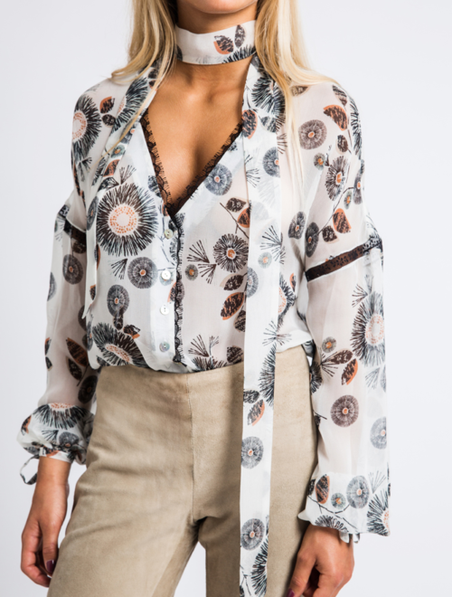 V-neckline pussy-bow lace-trimmed floral-print silk-chiffon blouse