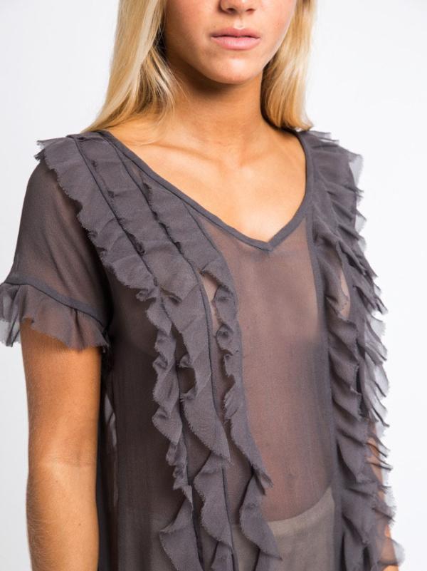 V-neckline ruffled silk-chiffon gown