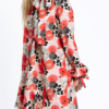 Pussy-bow ruffled silk dress