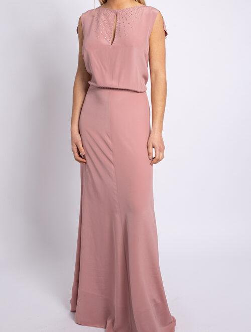 Embellished crepe de chine long dress