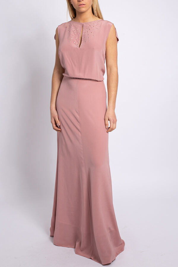 Embellished crepe de chine long dress