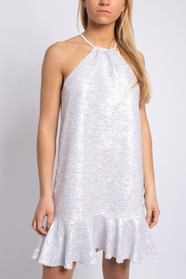 Sequined halter neck mini dress