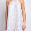 Sequined halter neck mini dress