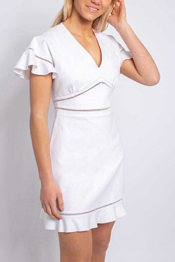 V-neck cotton mini dress