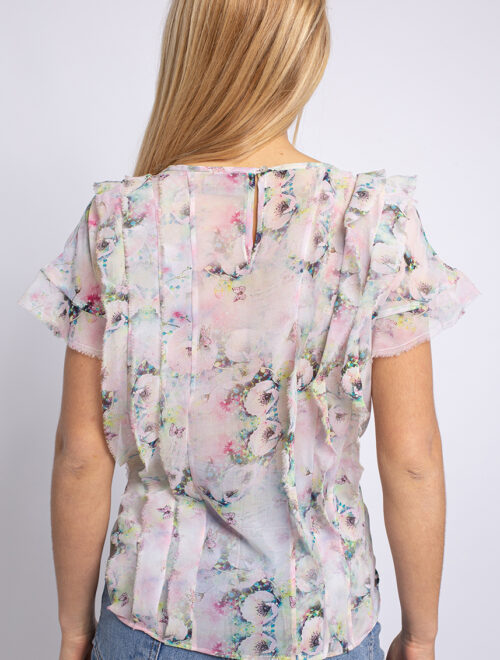 V-neckline ruffled print silk-chiffon blouse