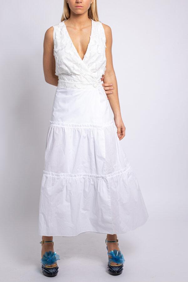 Wrap cotton midi dress