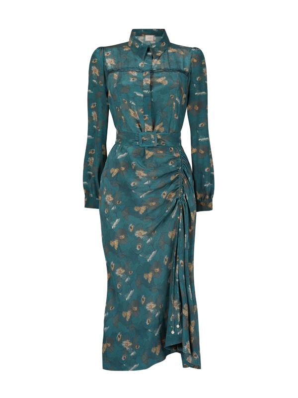 Asymmetric silk midi dress