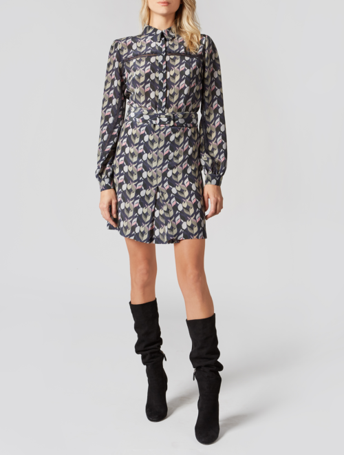 GEOMETRIC PRINT SILK MINI DRESS