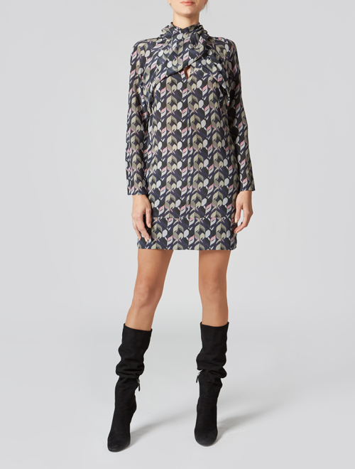 Geometric silk print mini dress