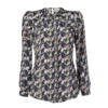 TWIST-FRONT PRINTED SILK BLOUSE