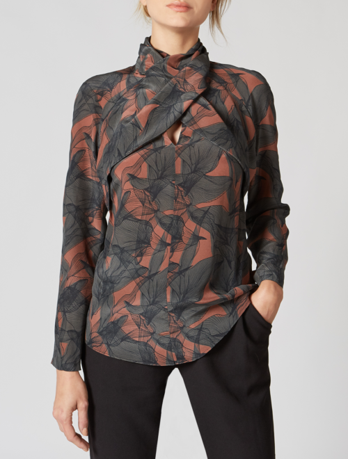 TWISTED FRONT FLORAL PRINTED SILK BLOUSE