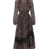 V-neck multicolour floral georgette midi dress